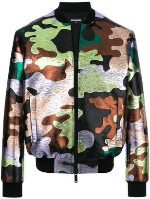 DSQUARED2 metallic camouflage pattern bomber jacket