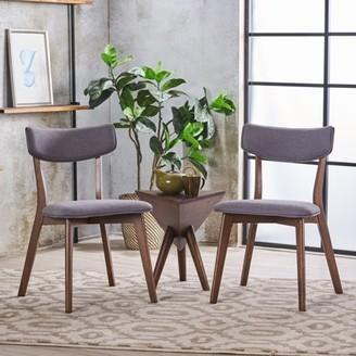 Noble House Sadie Mid Century Dark Grey Fabric Walnut Dining Chairs (Set of 2)