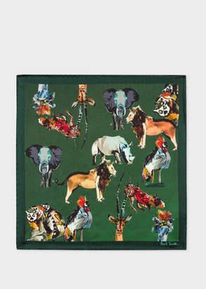 Paul Smith Men's Green 'Safari Animals' Print Silk Pocket Square