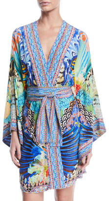 Camilla Printed Silk Kimono Coverup Robe with Belt