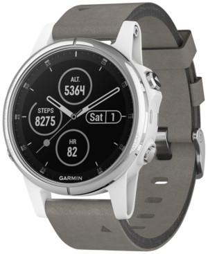 Garmin Unisex fenix 5S Plus Gray Suede Strap Smart Watch 42mm