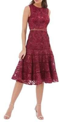 Carmen Marc Valvo Lace Sleeveless Fit-&-Flare Dress