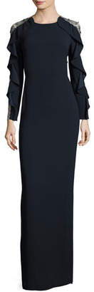Jenny Packham Ruffle-Sleeve Tulle-Back Gown, Dark Navy $2,875 thestylecure.com
