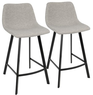 Lumisource Outlaw Industrial Counter Stool in Grey PU by Set of 2