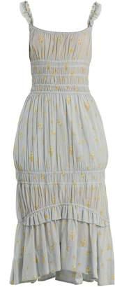 Brock Collection Darren geranium-print smocked cotton dress