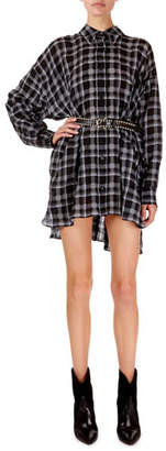Isabel Marant Albao Checked Organza Oversized Tunic