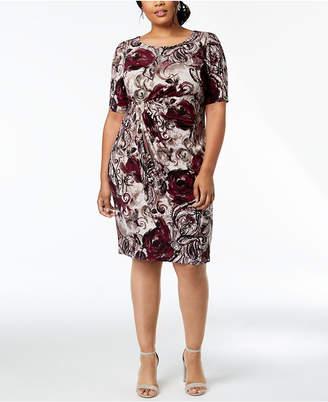 Connected Plus Size Paisley Draped Faux-Wrap Dress