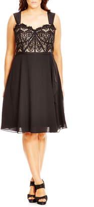 City Chic 'Eyelash Evie' Lace & Chiffon Cocktail Dress