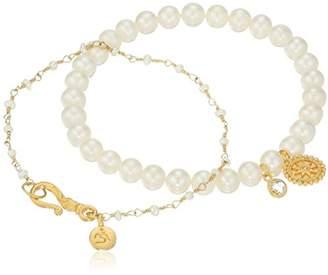 Satya Jewelry Freshwater Pearl Om Mandala Bracelet Set