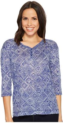 Tribal 3/4 Sleeve Henley Knit Burnout Top Women's Clothing