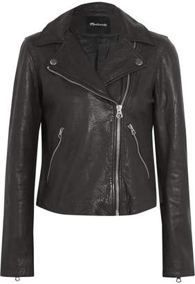 Madewell Textured-leather Biker Jacket - Black