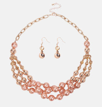 Avenue Rose Gold Layered Pearl Necklace and Earring Set