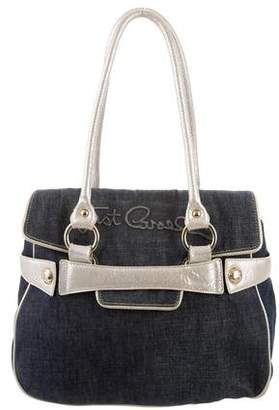 Just Cavalli Embossed Leather-Trimmed Denim Tote