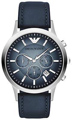Emporio Armani AR2473 Men's Chronograph Degrade Dial Leather Strap Watch, Blue
