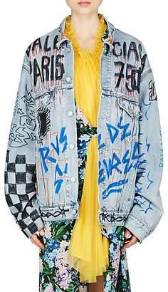 Balenciaga Women's Graffiti-Print Denim Oversized Jacket - Blue