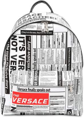 Versace Tabloid Print Saffiano Leather Backpack