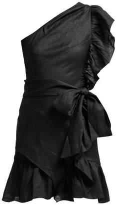 Etoile Isabel Marant Teller One Shoulder Frill Mini Dress - Womens - Black