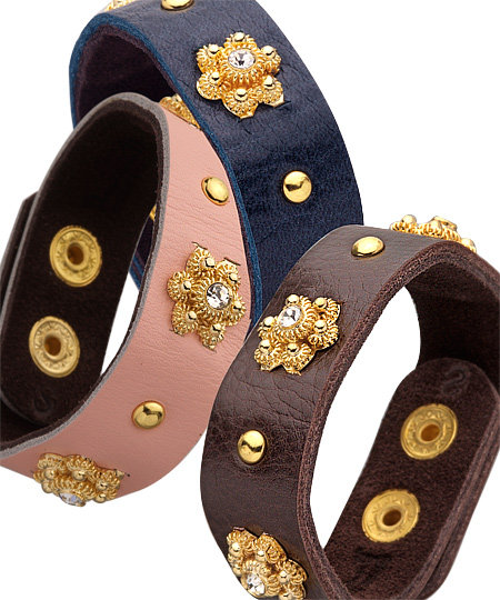 Presh Gold Studded Leather Bracelets