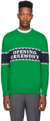 Opening Ceremony Green Knit Logo Sweater
