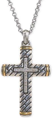 Esquire Men's Jewelry Diamond Two-Tone Cross Pendant Necklace (1/5 ct. t.w.) in Sterling Silver & 14k Gold
