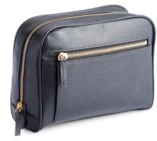 Royce Pebbled Leather Zip Toiletry Bag