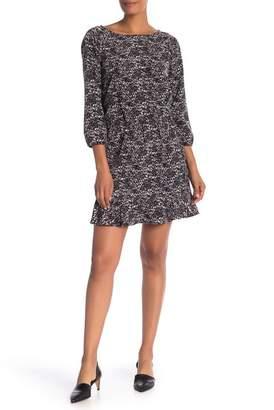 Joie Arryn B 3\u002F4 Sleeve Printed Ruffle Hem Dress