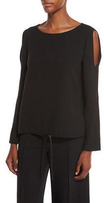 Lafayette 148 New York Maxina Cold-Shoulder Silk Blouse, Black $448 thestylecure.com