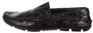 Prada Crocodile Driving Loafers