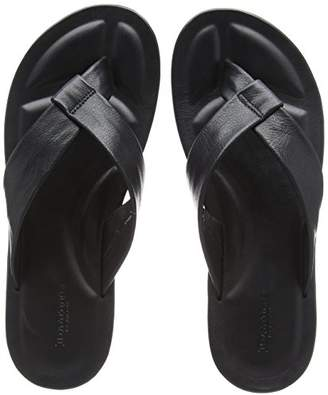 Dune Men's IDLE Flip Flops, (Black Leather), 46 EU