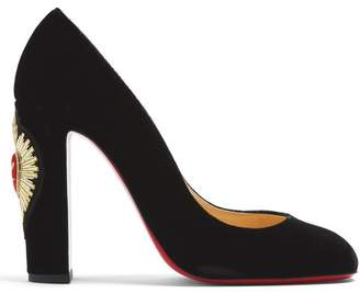 Christian Louboutin Cadrilla Corazon 110 Crest Embroidered Pumps - Womens - Black Multi