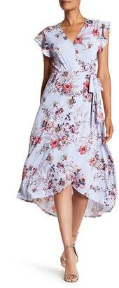 Bobeau Short Sleeve Floral Wrap Dress $80 thestylecure.com