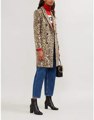 Claudie Pierlot Leopard-print wool-blend coat