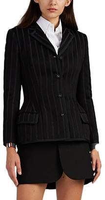 Thom Browne Women's Striped Wool-Blend Four-Button Blazer - Black