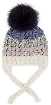 Mischa Lampert Kids' Striped Wool Beanie With Ties - Blue