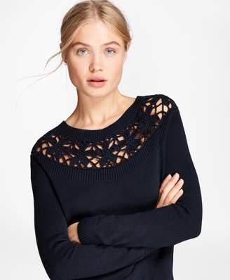 Brooks Brothers Crochet-Yoke Cotton Sweater