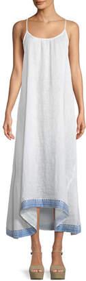 Vitamin A Tulum Sleeveless Linen Maxi Dress w/ Embroidered Hem