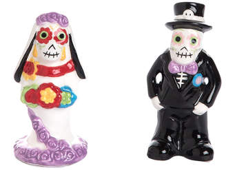 Transpac Set Of 2 Dolomite Day Of The Dead Bride & Groom Salt & Pepper Shakers