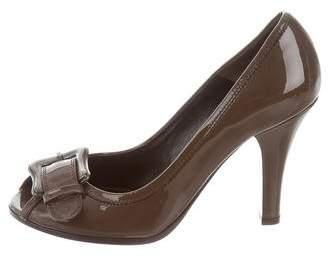 Fendi Patent Leather Peep-Toe Pumps
