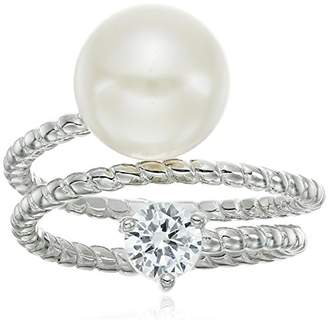 Bella Pearl Fancy Ribbed Cubic Zirconia Pearl Ring