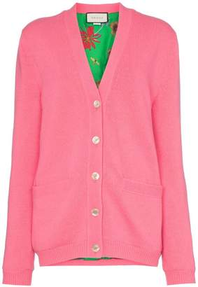 Gucci contrast GG oversized knitted cardigan