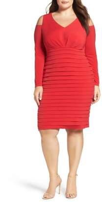 London Times Cold Shoulder Shutter Pleat Jersey Sheath Dress