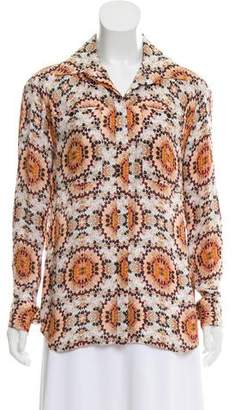 L'Agence Printed Button-Up Top