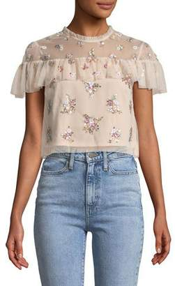 3f078414a90138 ... Needle & Thread Lustre Floral Embellished Ruffle Crop Top