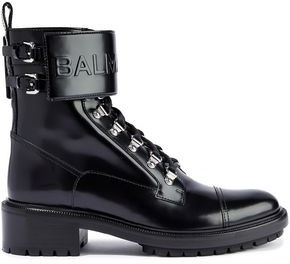 Balmain Embossed Glossed-leather Combat Boots