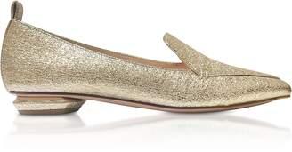 Nicholas Kirkwood Platino Crinkly Metallic Leather 18mm Beya Loafers