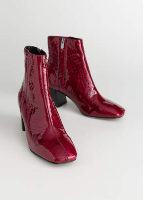 And other stories Patent Square Toe Ankle Boots