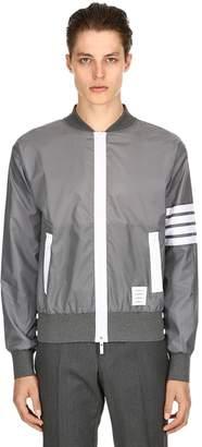 Thom Browne Zip-Up Lightweight Nylon Bomber Jacket