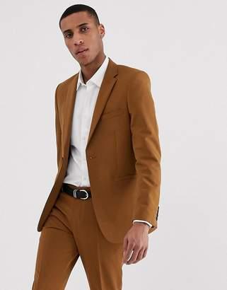 Burton Menswear skinny fit stretch suit jacket in gold