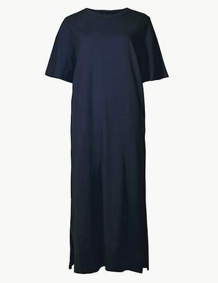 Marks and Spencer Pure Cotton Short Sleeve Shift Midi Dress