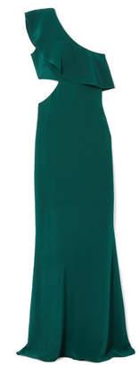 Cushnie - One-shoulder Cutout Silk-crepe Gown - Emerald
